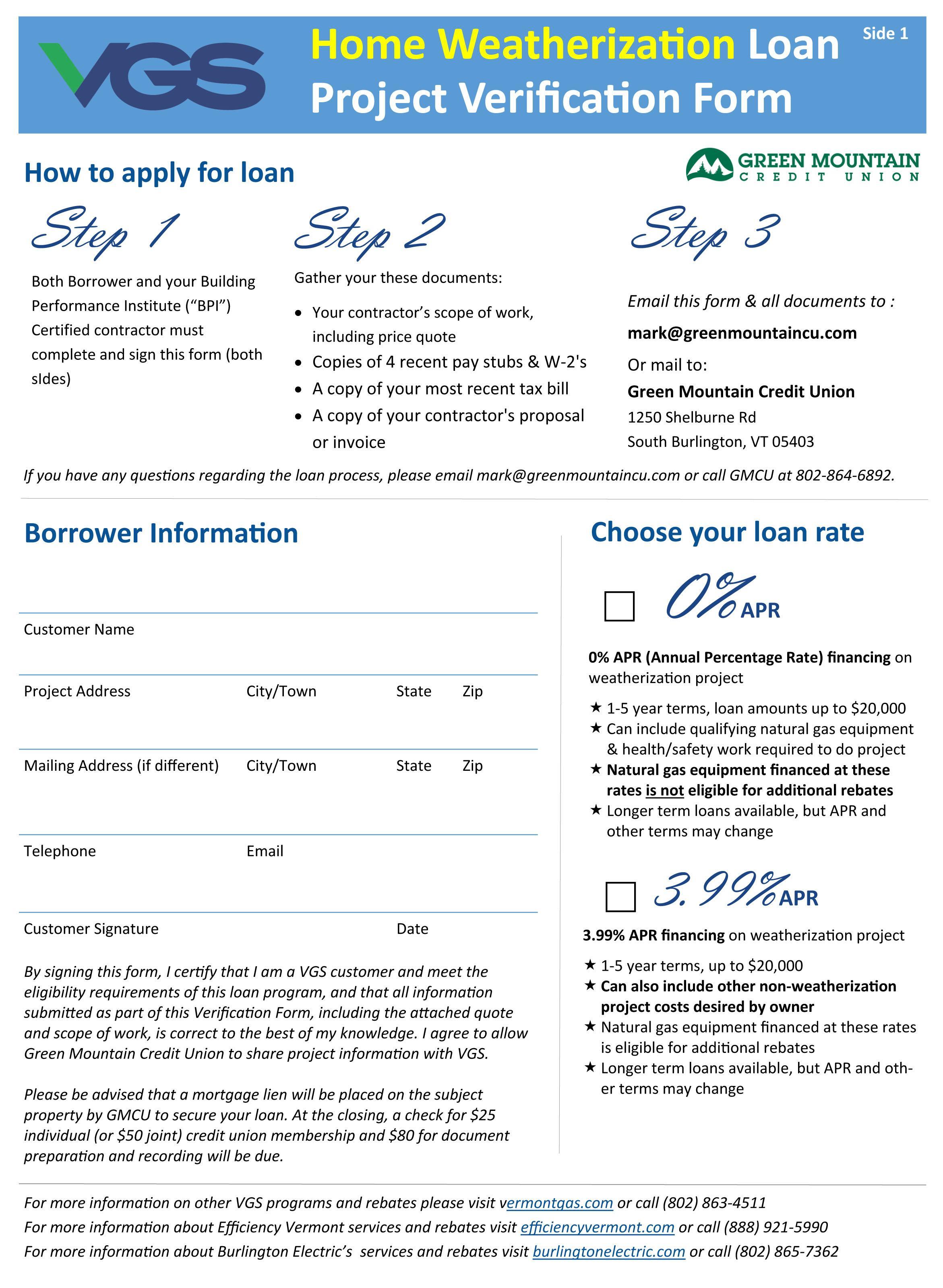 VGS Financing Application 2021