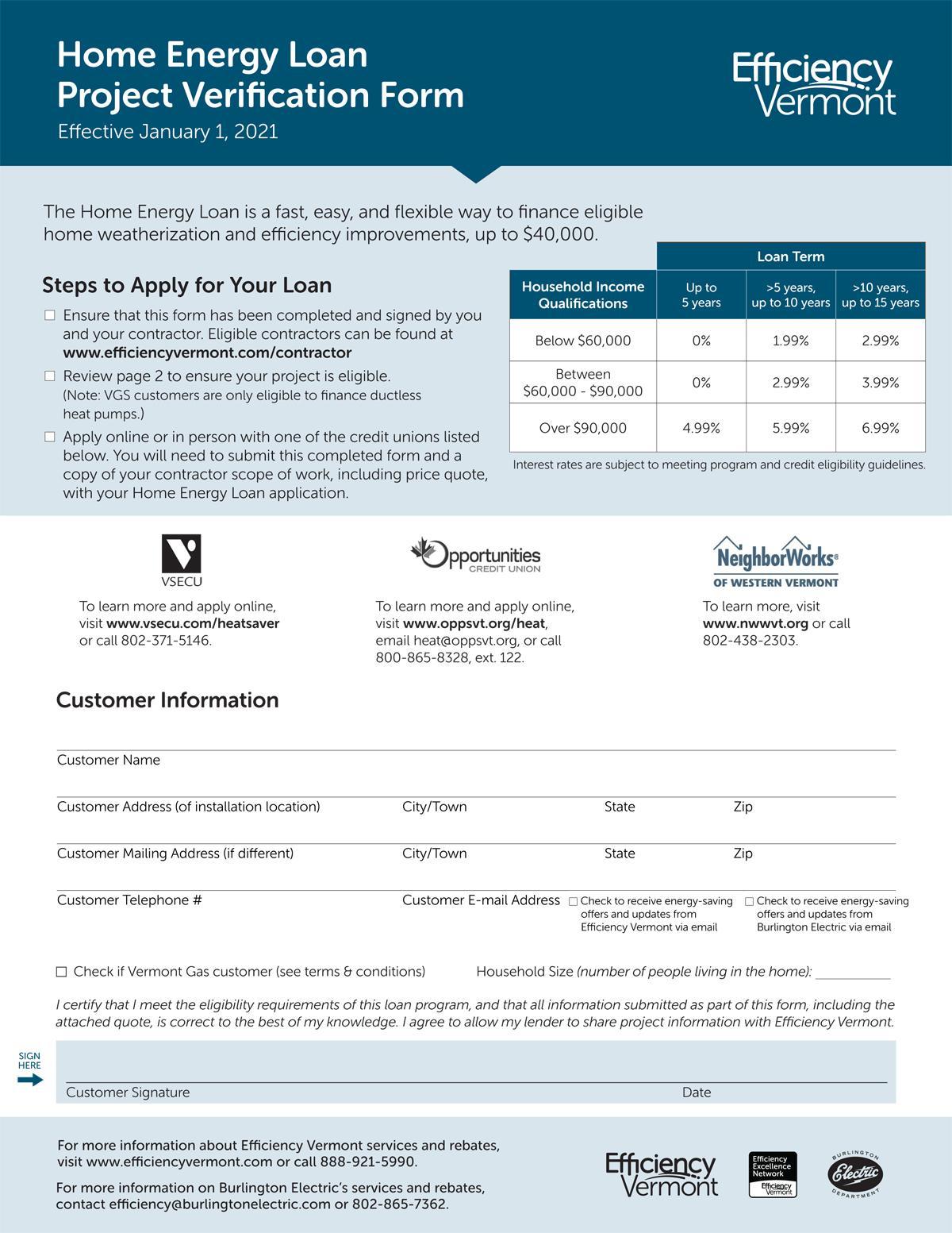 Efficiency Vermont Loan Verification