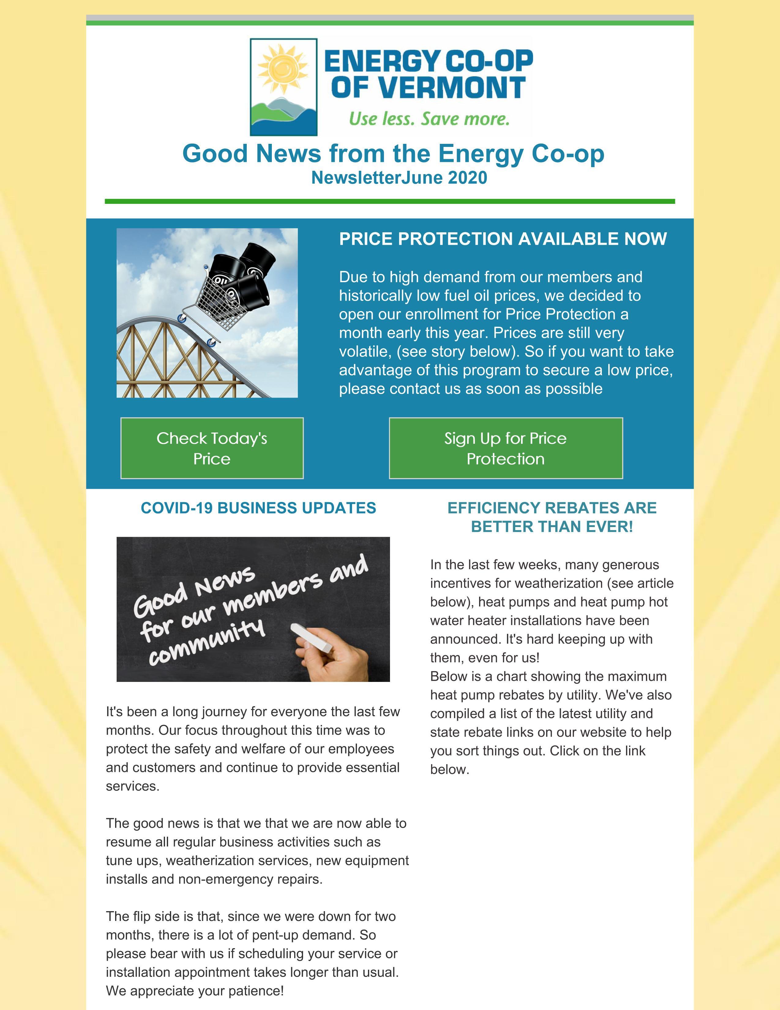 Energy Co-op of Vermont June 2020 Newsletter