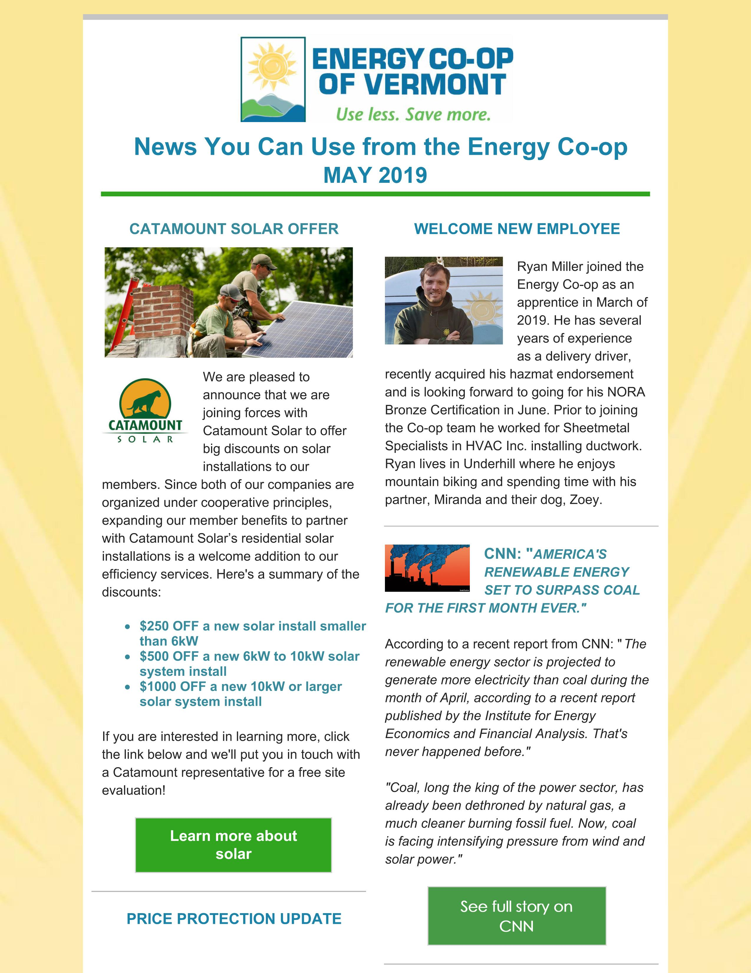 Energy Co-op of Vermont Newsletter May 2019