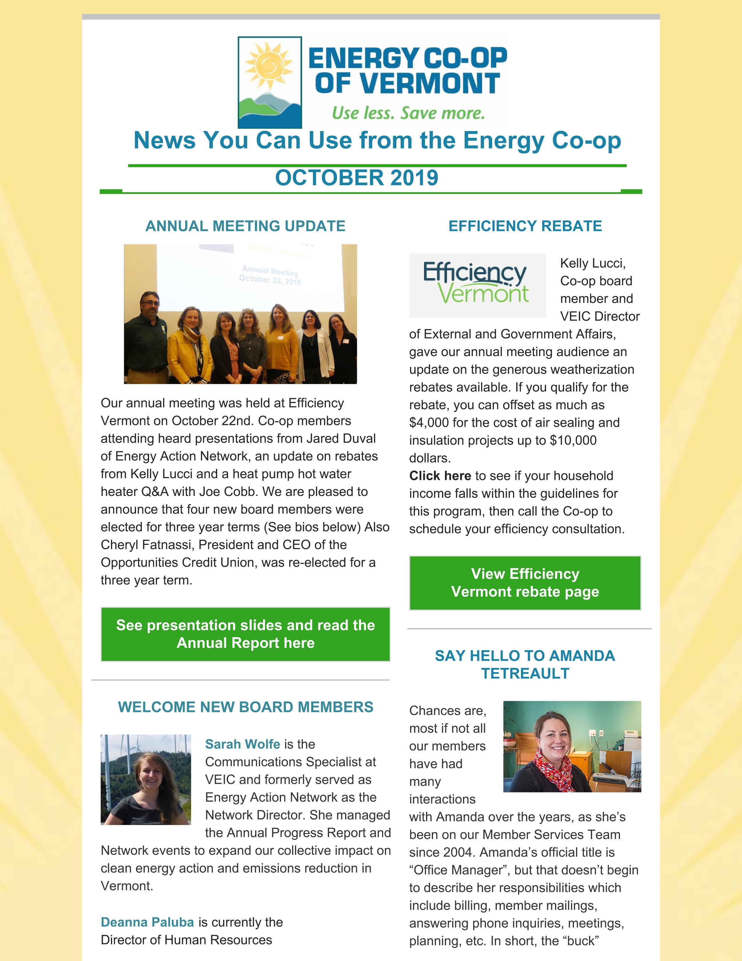 Energy Co-op of Vermont Newsletter October 2019