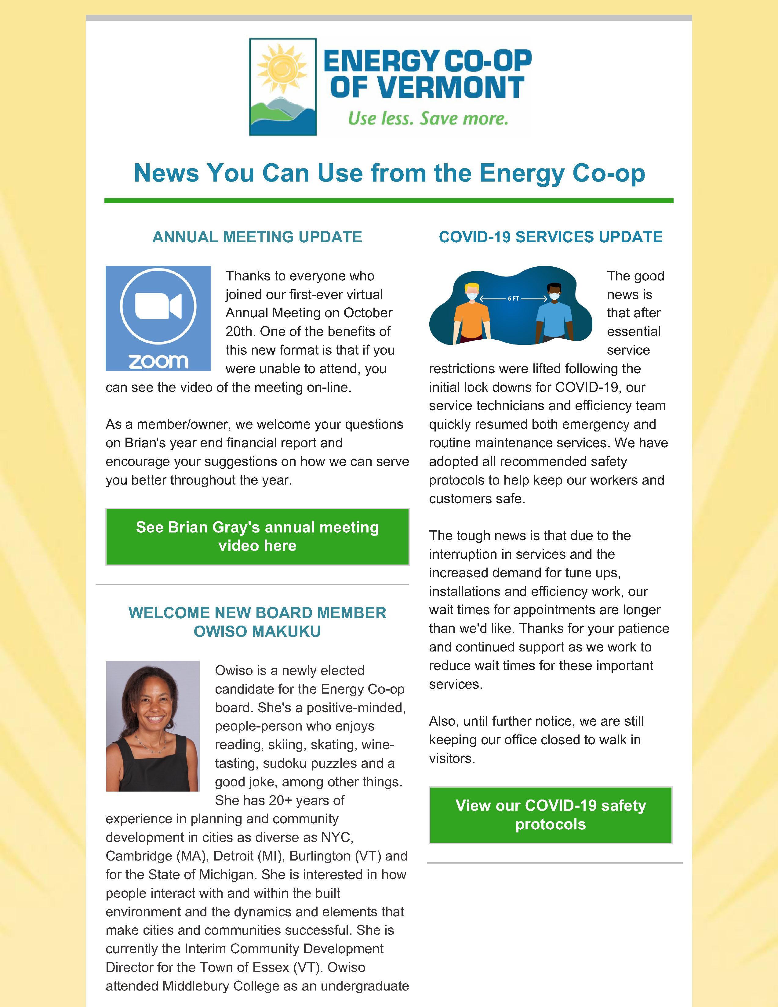 Energy Co-op October 2020 Newsletter