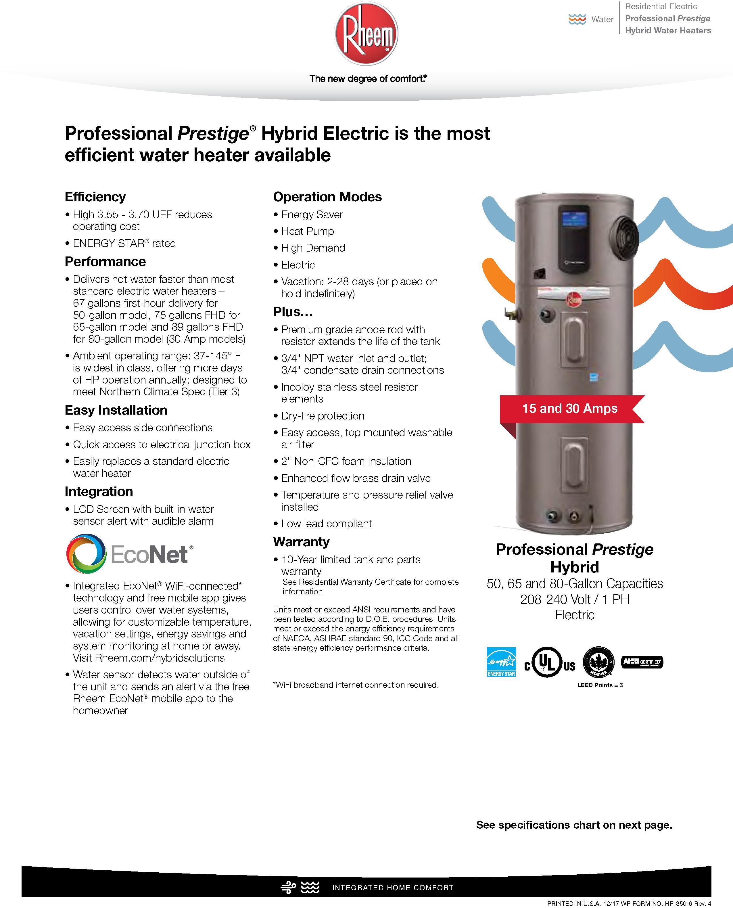 Rheem Hybrid Heat Pump Water Heater